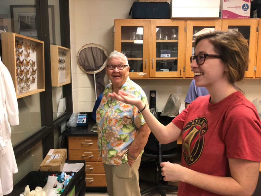 Lucy Weeks King with Hayley Adair Schroeder in the Altizer butterfly lab.