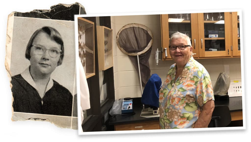 Lucy Weeks King 1956 yearbook photo and 2018 photo in the Altizer butterfly lab.