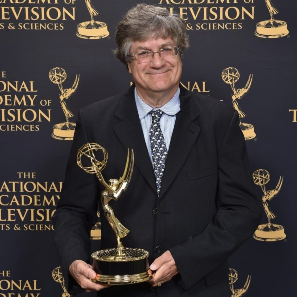 Prof. Emeritus James Porter with the Outstanding Nature Documentary Emmy Award for Chasing Coral. Photo: ® 2018 Marc Bryan-Brown Photography.