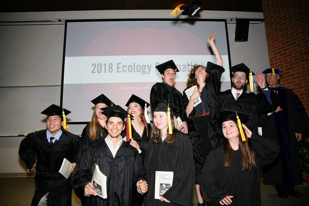 Fall 2018 graduates celebrate after the Odum School of Ecology convocation ceremony.