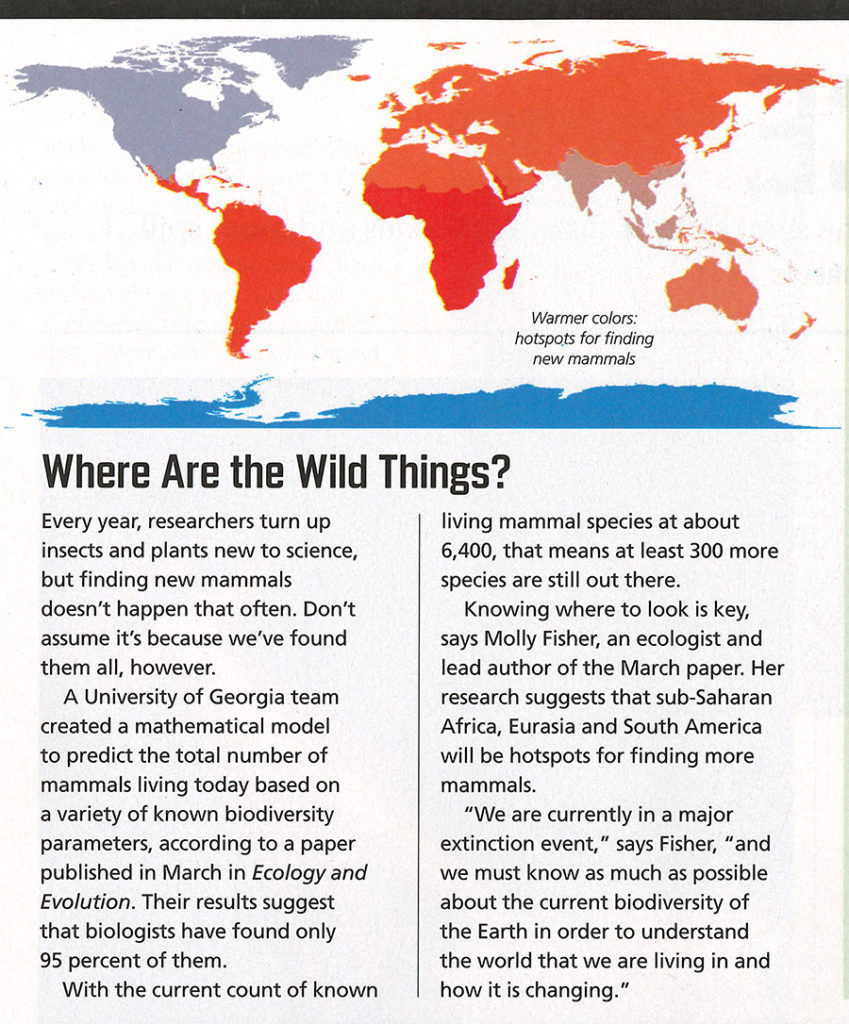"""Article """"Where Are the Wild Things?"""" from Discover Magazine, with heat map showing hotspots for finding new mammals."""