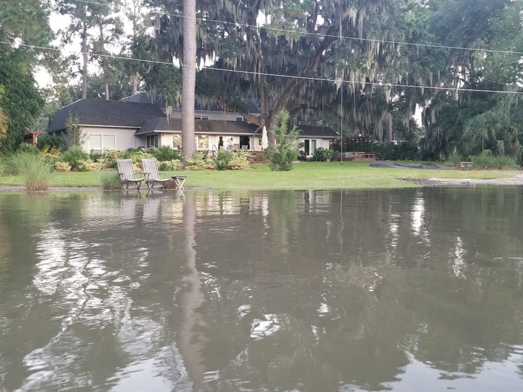 Flooded front yard in coastal Georgia. Photo: Jeff Beauvais.