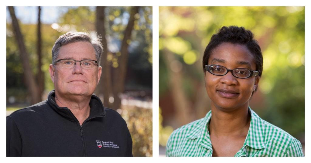 "UGA Athletic Association Professors Olin ""Gene"" Rhodes and Vanessa Ezenwa."