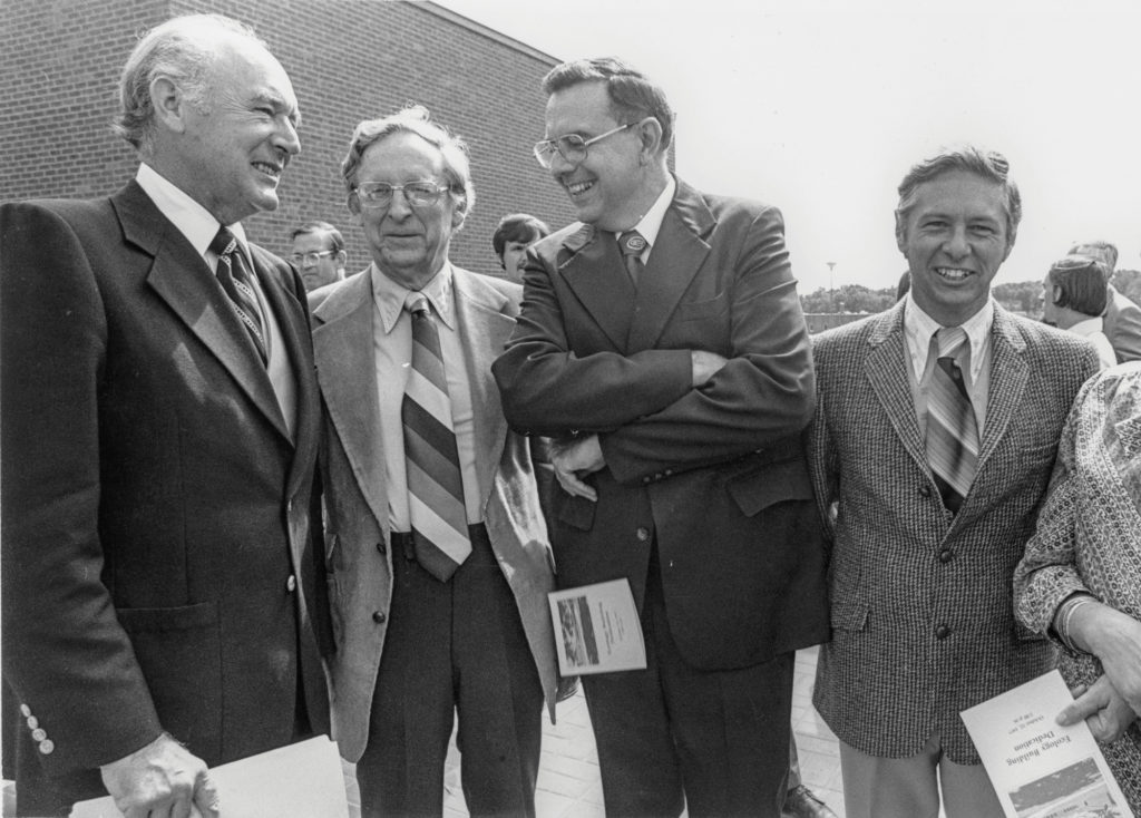 image of Cecil Andres, Eugene Odum, UGA President Fred Davison and Frank Golley