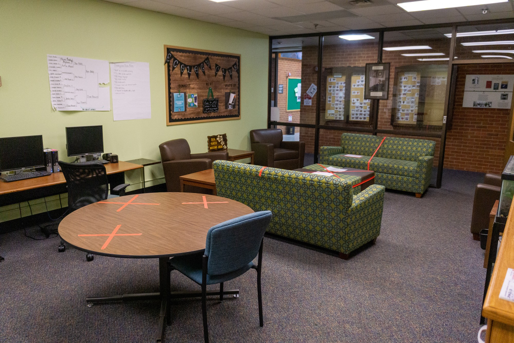 image of student lounge rearranged for social distancing