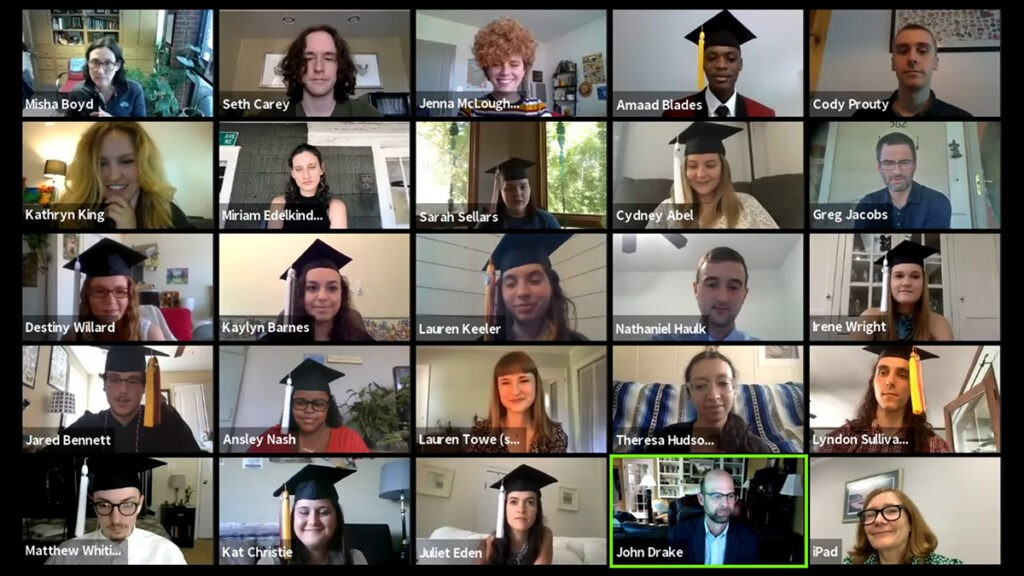Zoom screen showing participants in the online Odum School of Ecology Spring 2021 Convocation.